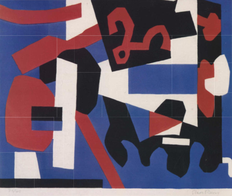 "Stuart Davis ,Detail Study for ""Cliche"" not dated color lithograph 121/2x147/8"" UNL-F. M. Hall Collection圖/ Painting Music: Rhythm And Movement In Art ,Sharon L. Kennedy"