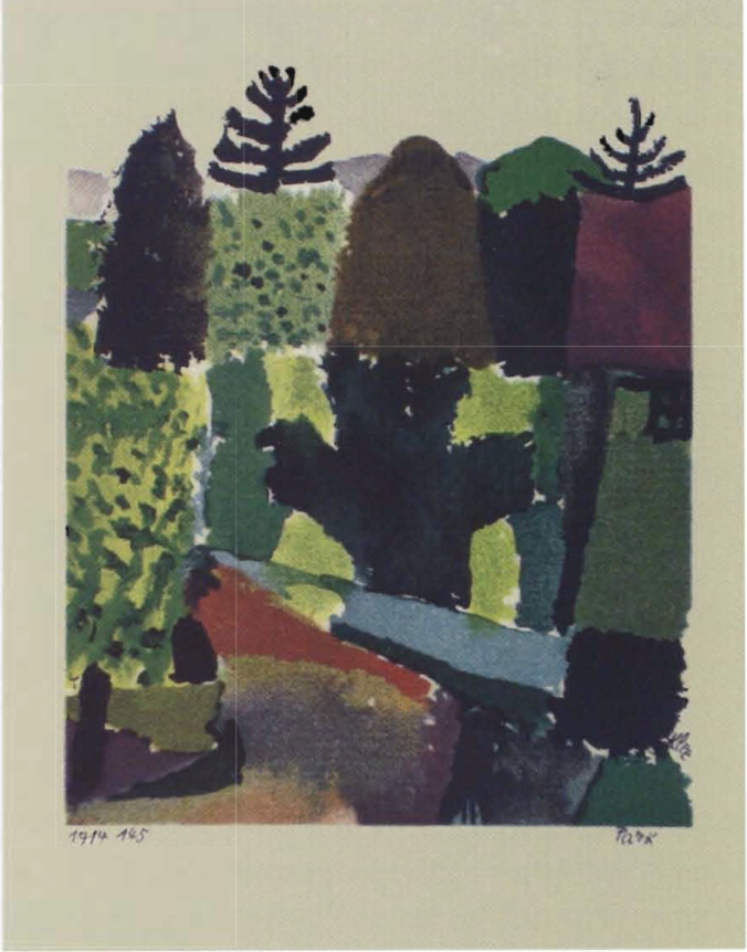 "Paul Klee, Park, 1914-15,color lithograph, 4 7/S x 4"" UNL-F. M. Hall Collection  圖/ Painting Music: Rhythm And Movement In Art ,Sharon L. Kennedy"